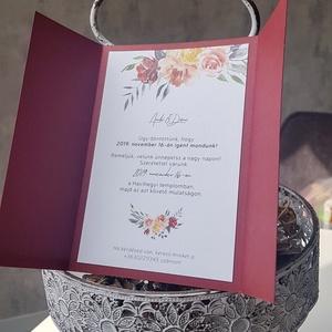 Esküvői meghívó • Burgundi I., Meghívó, Meghívó & Kártya, Esküvő, Fotó, grafika, rajz, illusztráció, Papírművészet, Egy elegáns, visszafogott, stílusos meghívó.\nA papírszalag szatén szalagra cserélhető.\n\nMérete 10,5x..., Meska