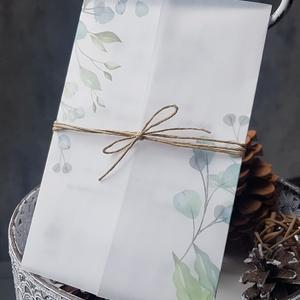 Esküvői meghívó , Meghívó, Meghívó & Kártya, Esküvő, Fotó, grafika, rajz, illusztráció, Papírművészet, Elegáns meghívó, minimál stílusban, pausz papírba bújtatva.\n\nMérete 10,5x14,8 cm, kreatív kartonra n..., Meska