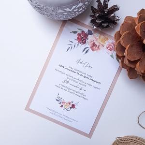 Esküvői meghívó • púder, Meghívó, Meghívó & Kártya, Esküvő, Fotó, grafika, rajz, illusztráció, Papírművészet, Elegáns meghívó, vintage stílusban.\n\nMérete 10,5x14,8 cm, kreatív kartonra nyomtatva, metál fényű há..., Meska