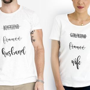 Husband and wife esküvői póló, Póló, felső, Női ruha, Ruha & Divat, Fotó, grafika, rajz, illusztráció, A póló S-XXL méretig rendelhető.\nHa színes pólót szeretnétek, ezt az opciót kiegészítőként +200 Ft-é..., Meska