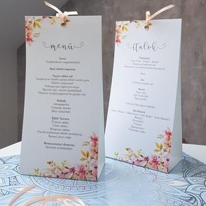 Esküvői menükártya, Menü, Meghívó & Kártya, Esküvő, Fotó, grafika, rajz, illusztráció, Papírművészet, A romantikus hangulatú esküvő tökéletes kiegészítője.\nA menükártya mérete kb. 105x210 mm, két  oldal..., Meska
