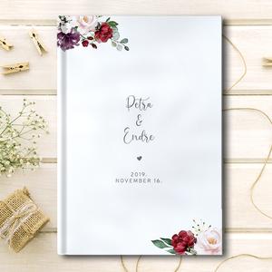 Esküvői vendégkönyv, Vendégkönyv, Emlék & Ajándék, Esküvő, Fotó, grafika, rajz, illusztráció, Egy elegáns esküvői vendégkönyv, cérnafűzött keményfedeles kötéssel, 50-60 db üres lappal. Igény ese..., Meska