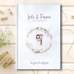Esküvői vendégkönyv, Esküvő, Esküvői dekoráció, Fotó, grafika, rajz, illusztráció, Egy elegáns esküvői vendégkönyv, cérnafűzött keményfedeles kötéssel, 2 cm vastagságú gerinccel és ür..., Meska