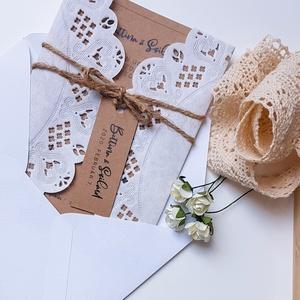 Esküvői meghívó, Esküvő, Esküvői dekoráció, Meghívó, ültetőkártya, köszönőajándék, Fotó, grafika, rajz, illusztráció, Papírművészet, Rusztikus hangulatú, papír csipkével borított, natúr hatású, egyszerű, letisztult meghívó a vintage ..., Meska