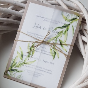 Esküvői meghívó , Meghívó, Meghívó & Kártya, Esküvő, Fotó, grafika, rajz, illusztráció, Papírművészet, Elegáns fehér meghívó kraft kartonra ragasztva, natúr stílusban, pausz papírba bújtatva. <3\n\nMérete ..., Meska