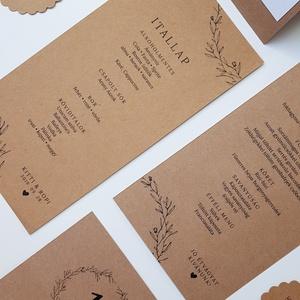 Esküvői menükártya, Menü, Meghívó & Kártya, Esküvő, Fotó, grafika, rajz, illusztráció, Papírművészet, Egyszerű natúr kétoldalas menükartya, a rusztikus hangulatú dekoráció tökéletes kiegészítője.\n\nMéret..., Meska