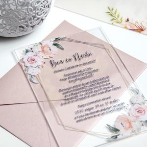 Plexi esküvői meghívó • akril esküvői meghívó, Esküvő, Esküvői dekoráció, Meghívó, ültetőkártya, köszönőajándék, Fotó, grafika, rajz, illusztráció, Papírművészet, Különleges, modern, romantikus, színes, virágos... minden, ami kellhet! :)\n\nPlexi lapra nyomtatott e..., Meska