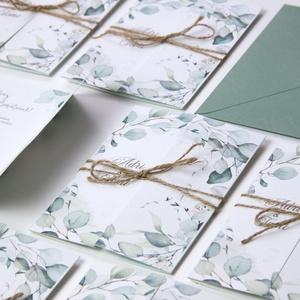 Ablakosan nyíló esküvői meghvó I., Esküvő, Esküvői dekoráció, Meghívó, ültetőkártya, köszönőajándék, Fotó, grafika, rajz, illusztráció, Papírművészet, Kézoldalra nyitható, greenery stílusú meghívó.\n\nMérete A6, kinyitható, kenderzsineggel átkötve.\nAz á..., Meska