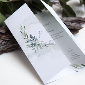Ablakosan nyíló esküvői meghvó II., Meghívó, Meghívó & Kártya, Esküvő, Fotó, grafika, rajz, illusztráció, Papírművészet, Kézoldalra nyitható, greenery stílusú meghívó.\n\nMérete A6, kinyitható, kenderzsineggel átkötve.\nAz á..., Meska