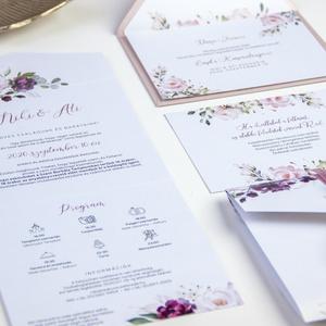 Esküvői meghívó , Esküvő, Esküvői dekoráció, Meghívó, ültetőkártya, köszönőajándék, Fotó, grafika, rajz, illusztráció, Papírművészet, Különleges hangulatú meghívó metálfényű kartonra nyomtatva, leporello formával. <3\nAz alapár a szala..., Meska