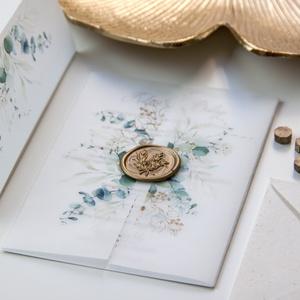 Esküvői meghívó , Esküvő, Esküvői dekoráció, Meghívó, ültetőkártya, köszönőajándék, Fotó, grafika, rajz, illusztráció, Papírművészet, Greenery stílusú meghívó pausz borítóval, letisztult egyoldalas meghívó lappal és viaszpecséttel lez..., Meska