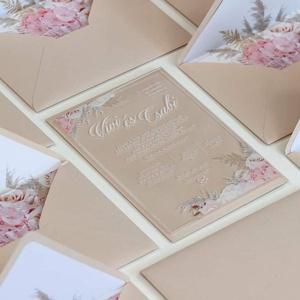 Plexi esküvői meghívó • akril esküvői meghívó, Esküvő, Meghívó & Kártya, Meghívó, Fotó, grafika, rajz, illusztráció, Papírművészet, Különleges, modern, romantikus, színes, virágos... minden, ami kellhet! :)\n\nPlexi lapra nyomtatott e..., Meska