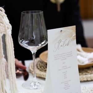 Esküvői menükártya, Esküvő, Meghívó & Kártya, Menü, Fotó, grafika, rajz, illusztráció, Papírművészet, A romantikus hangulatú esküvő tökéletes kiegészítője.\nA menükártya mérete kb. 105x210 mm, két  oldal..., Meska