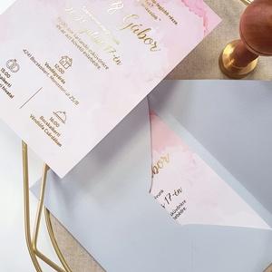 Esküvői meghívó, Esküvő, Meghívó & Kártya, Meghívó, Fotó, grafika, rajz, illusztráció, Papírművészet, Márványozott alapra készült, aranyozott esküvői meghívó.\n\nMérete A6.\n\nRendelhettek hasonló stílusú ü..., Meska