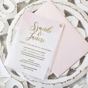 Esküvői meghívó, Esküvő, Meghívó & Kártya, Meghívó, Fotó, grafika, rajz, illusztráció, Papírművészet, Márványos alapra nyomtatott meghívó, aranyozott pausszal borítva. Romantikus és elegáns :)\n\nMérete A..., Meska