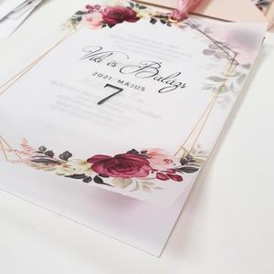 Esküvői meghívó, Esküvő, Meghívó & Kártya, Meghívó, Fotó, grafika, rajz, illusztráció, Papírművészet, Márványos alapra nyomtatott meghívó, pausszal borítva. Romantikus és elegáns :)\n\nMérete A6.\n\nRendelh..., Meska