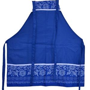 Női kötény pamutvászonból (BORI) , Otthon & lakás, Konyhafelszerelés, Kötény, Varrás, Egyedi női kötény kék pamutvászonból, kékfestő jellegű bordűrös zsebbel, a Bori fantázia nevet kapta..., Meska