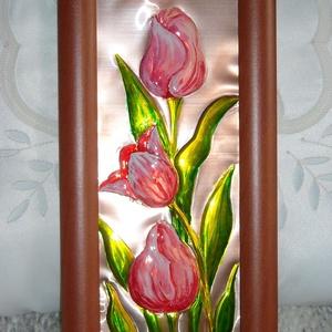 Rózsaszín tulipánok. Rézdomborítás (Kemcsi) - Meska.hu