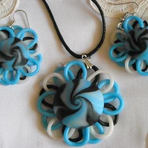 Csak egy kék színű virág szett, Ékszer, Fülbevaló, Medál, Nyaklánc, Gyurma, Ékszergyurmákból egy medálból és egy pár fülbevalóból álló ékszer szettet készítettem, melyek teljes..., Meska