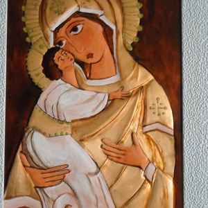Istenanya, rézdomborítású ikon, Otthon & lakás, Dekoráció, Kép, Lakberendezés, Falikép, Fémmegmunkálás, Festett tárgyak, 19 x 24 cm-es, fehér, nem sima felületű keretbe, rézlemezből ikont készítettem. Az ikonon az Istenan..., Meska