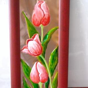 Rózsaszín tulipánok. Rézdombormű - Meska.hu