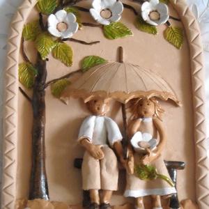 Esernyős kulcstartó kerámiából, Otthon & Lakás, Dekoráció, Falra akasztható dekor, Kerámia, Szobrászat, Meska
