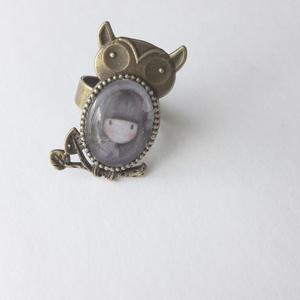 Bagoly gyűrű, Ékszer, Figurális gyűrű, Gyűrű, Ékszerkészítés, Meska