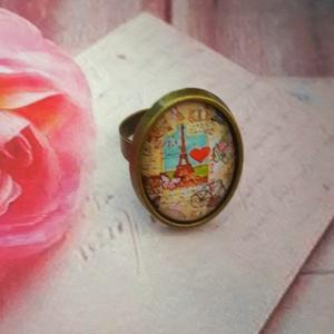 Párizsból szeretettel - üveglencsés gyűrű, Ékszer, Gyűrű, Üveglencsés gyűrű, Ékszerkészítés, Antik bronz 18x25 mm üveglencsés technikával készült gyűrű. Nikkelmentes., Meska