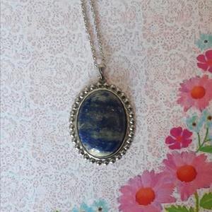 Lapis lazuli - nemesacél alapú ásvany nyaklánc, Ékszer, Medálos nyaklánc, Nyaklánc, Ékszerkészítés, Meska