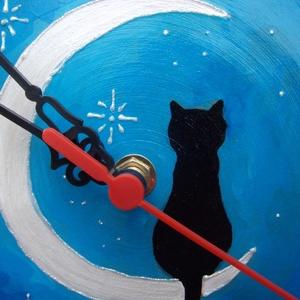 Cicás falióra, kerámia falióra cicás mintával, macskás falióra (KeraMici) - Meska.hu