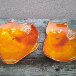 Róka formájú kerámia tálka narancs effektmázzal - Meska.hu