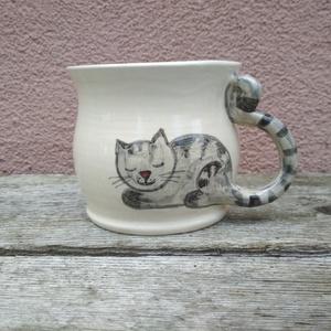 Festett cicás bögre, macskás bögre, fehér változatban (KeraMici) - Meska.hu