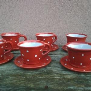 Kávés szett, pöttyös kávéskészlet hat személyre, Otthon & Lakás, Bögre & Csésze, Konyhafelszerelés, Piros-fehér pöttyös kávés csészék alátét tányérkával. Korongolt, károsanyag-mentes mázzal mázazott, ..., Meska