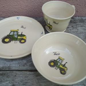 Traktoros gyerek étkészlet, 3 darabos szett - Meska.hu