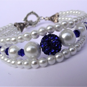 Ragyogó kék kristálygömbös háromsoros karkötő (keramika) - Meska.hu