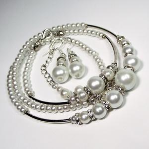 Karina - Modern, alkalmi gyöngyékszer szett - nyaklánc, karkötő, fülbevaló - Menyasszonyi ékszer, Ékszer, Ékszerszett, Ékszerkészítés, Gyöngyfűzés, gyöngyhímzés, Modern, fiatalos dizájn, új stílus - A klasszikus gyöngyékszer újragondolva. \nA tekla gyöngyök és a ..., Meska