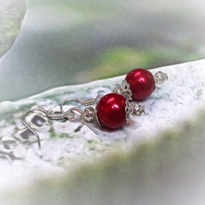 Egyszerű piros TeklArt fülbevaló  (keramika) - Meska.hu
