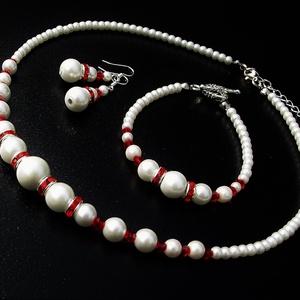 TeklArt szett - Piros-fehér - Gyöngysor, karkötő, fülbevaló - Alkalomra, esküvőre, menyecskeruhához (keramika) - Meska.hu
