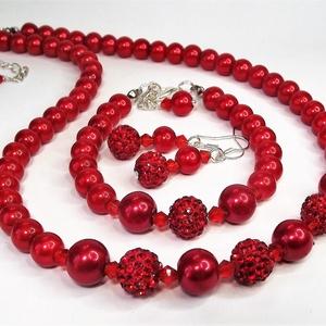 Elegáns piros kristálygömbös gyöngysor karkötő fülbevaló exkluzív díszdobozban - Alkalmi, esküvői, menyasszonyi ékszer  (keramika) - Meska.hu