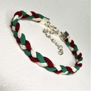 TRICOLOR - Piros-fehér-zöld hasított bőr karkötő - Ajándék Március 15. Hazaszeretet Magyarországi emlék, Ékszer, Fonott & Szövött karkötő, Karkötő, Egyszerű hasított bőr karkötő nemzeti színeinkkel fonva.   Ajánljuk nemzeti ünnepeinkre, Március 15-..., Meska