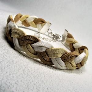 TRICOLOR - Fehér-vajszín - bézs duplaszálas puha hasított bőr karkötő Ajándék nőknek Névnapra Születésnapra (keramika) - Meska.hu