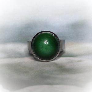 Zöld kerámiadíszes nemesacél gyűrű 1,2 - Ajándék lányoknak nőknek névnapra születésnapra (keramika) - Meska.hu