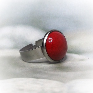Piros kerámia - nemesacél gyűrű 1,2 - Ajándék lányoknak nőknek névnapra születésnapra különleges alkalmakra - Meska.hu