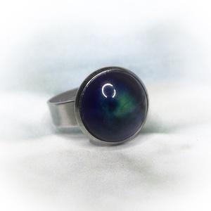 Kék-zöld kerámiadíszes nemesacél gyűrű 1,2 - Ajándék lányoknak nőknek névnapra születésnapra - Meska.hu