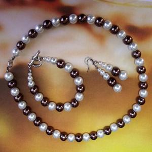 Óarany - gyöngyházfehér tekla gyöngysor és karkötő, ajándék fülbevalóval, Ékszer, Ékszerszett, Klasszikus gyöngysor, karkötő és fülbevaló gyöngyházfehér és óarany / aranybarna 10 mm-es teklagyöng..., Meska