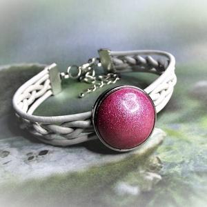 Rózsaszín álom - Kerámiapatentos fehér fonott bőr karkötő - Unikornis kollekció (keramika) - Meska.hu