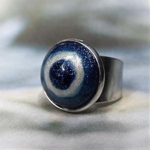UNIKORNIS csillogó kék-fehér kerámia gyűrű - Ajándék lányoknak nőknek névnapra születésnapra, Ékszer, Gyűrű, Szoliter gyűrű, Ékszerkészítés, Kerámia, Meska