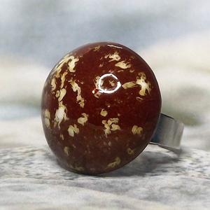 Különleges karamell színű kerámia gyűrű, Ékszer, Gyűrű, Szoliter gyűrű, Ékszerkészítés, Kerámia, Meska