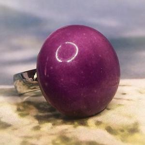 Orgonalila nagy kerámia gyűrű , Ékszer, Gyűrű, Szoliter gyűrű, Kerámia, Ékszerkészítés, Meska
