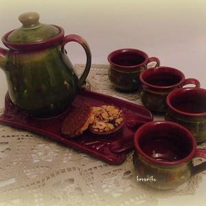 kávésbögre kvartett, Konyhafelszerelés, Otthon, lakberendezés, Bögre, csésze, Tárolóeszköz, Kerámia, Ha színt vinnél a szürke hideg napok kávéihoz, csak 4 barátot hívj és főzz egy jó kávét! Korongolt ..., Meska